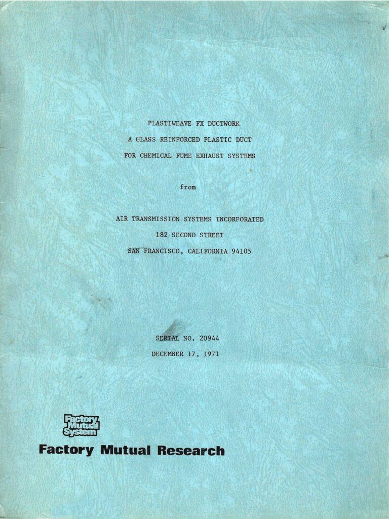 Factory Mutual Report, 1971